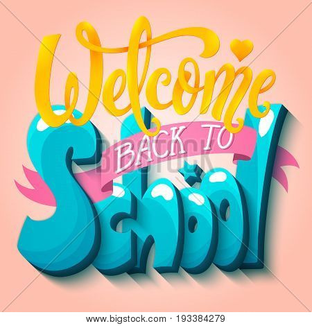 Welcome back to school banner. Vector illustration.