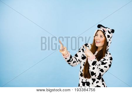 Happy Crazy Woman In Cow Costume