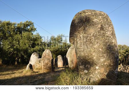 Megalithic culture. Alignment of neolithic stones in Cromeleque dos Almendres Alentejo Evora Portugal