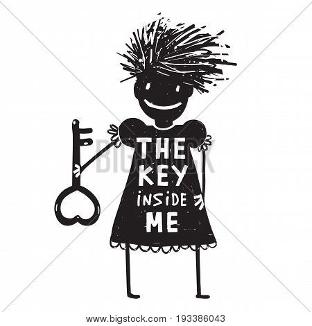 Woman holding a key with a sign key inside me. Vector illustration