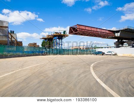 Moscow, Russia, May 27, 2017: The construction of the overpass through the Moscow central ring on the territory of the former ZIL plant.