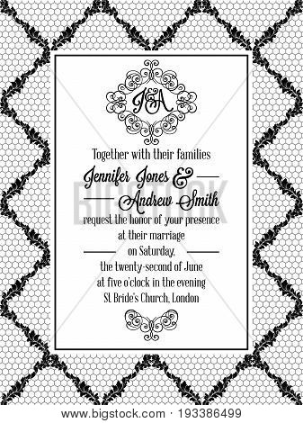 Damask Pattern Design For Wedding Invitation In Black And White Lace. Pattern Is Included As Seamles
