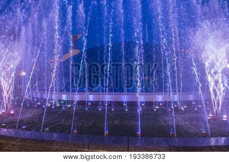 KIEV UKRAINE - JUNE 05 : The fountains on Maidan Nezalezhnosti in Kiev Ukraine on 05 June 2017 it is light and music fountain complex opend on May 01 2017