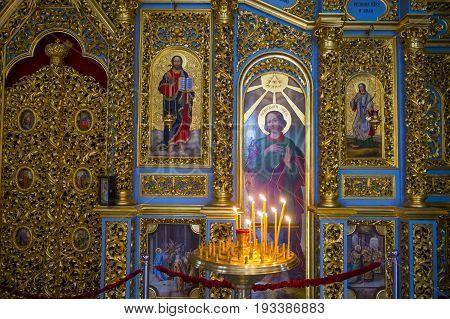 KIEV UKRAINE - JUNE 05 : The interior of the Pechersk Lavra monastery in Kiev Ukraine on June 05 2017 The Pechersk Lavra is unesco world heritage site since 1990