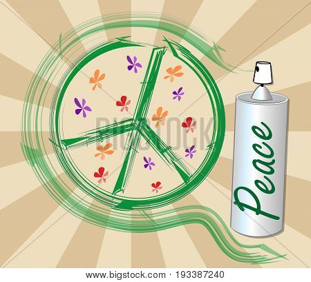 International symbol of peace disarmament anti-war movement. Grunge street art design with spray inscription peace. Vector image on radiating background. Retro motif of hippies movement