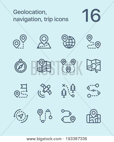Outline Geolocation, navigation, trip icons for web and mobile design pack 1