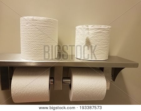 metal toilet paper holder in bathroom with four rolls