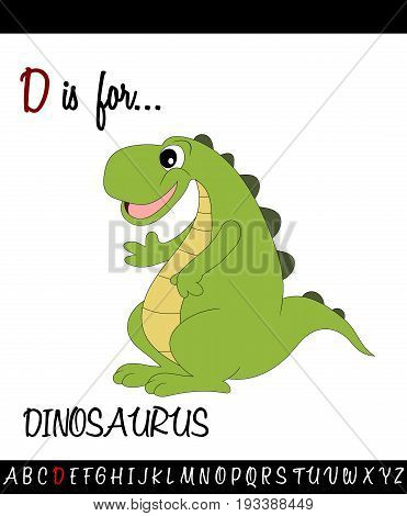 Illustrated vocabulary worksheet card with cartoon dinosaurus for Children Education