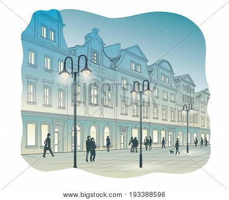 Vector illustration of Old town square at night