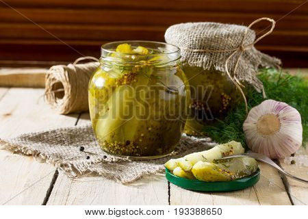 Marinated Cucumbers Gherkins. Marinated Pickles With Mustard And Garlic On The Kitchen Table.