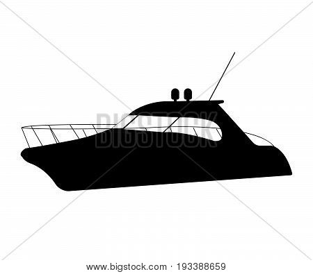 Speedboat Flat Icon And Sign. Silhouette Vector Illustration