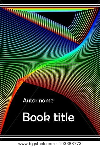 Modern book cover brochure poster bill flyer paperback textbook template with abstract rainbow line decoration on black background.