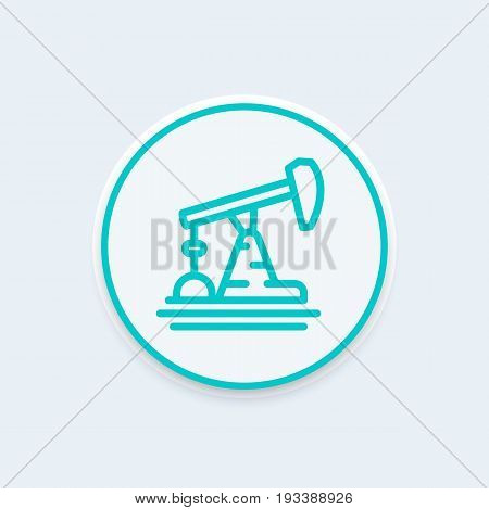 Oil pump, derrick line icon, vector illustration, eps 10 file, easy to edit