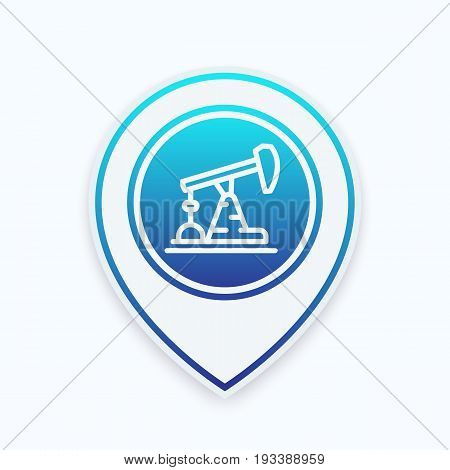 Oil pump line icon on map pointer, vector illustration