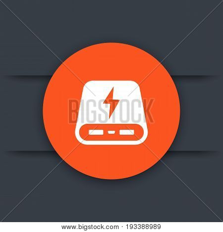 power bank icon, portable charger round sign, vector illustration, eps 10 file, easy to edit
