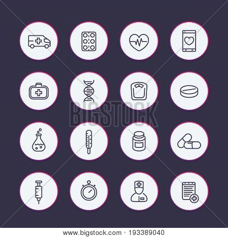medicine line icons set, healthcare, pharmaceutics, drugs, first aid kit, ambulance, therapy, thermometer, syringe
