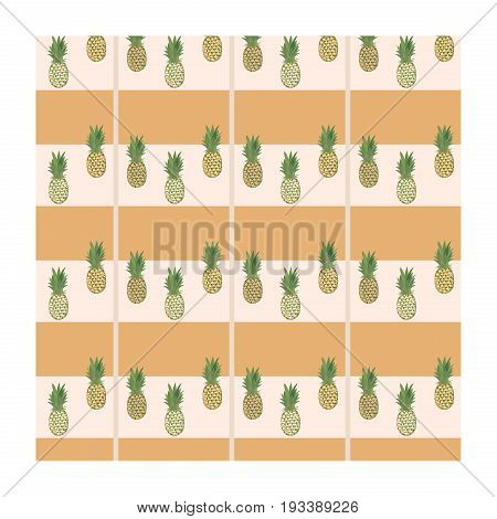 Pineapple pattern. Pattern with pineapple on checkered background