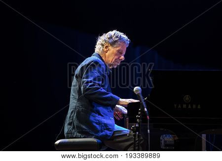 CRACOW POLAND - MAY 8 2017: Chick Corea Trio live on stage in ICE Cracow Poland. Chick Corea is one of the world of jazz giants a true legend of the piano and keyboards