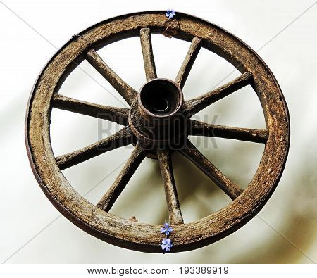 Wheel from the trolley. Wooden old with iron rusty rim. Harness. Nails. Needles.