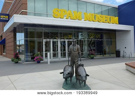 AUSTIN, MINNESOTA - JUNE 21, 2017: Statue at the Spam Museum. The 16,000 square foot space is dedicated to Spam, the canned precooked meat product made by the Hormel Foods Corporation.