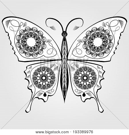 Butterfly with lace pattern on wings monochromatic white and black calligraphic symmetric drawing on gray background. Vector design element isolated decorative object