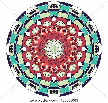 Mandala in vivid colors for energy obtaining. An aid to meditation exercises red and green geometric pattern eps10 vector