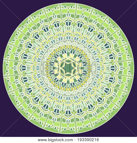 Green fine mosaic mandala for energy and power obtaining mandala for meditation training