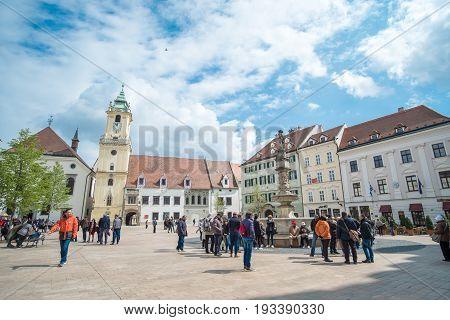 Bratislava Slovakia - 17 April 2017 : People walking around the main square in the old town of Bratislava