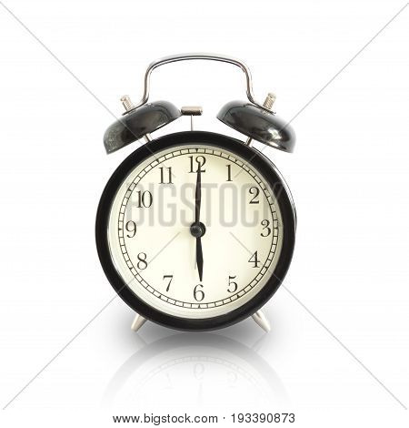 Alarm Clock Setting At 6 Am Or Pm Isolated. This Has Clipping Path.