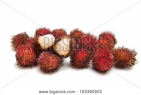 Rambutan natural fruit agriculture on white background