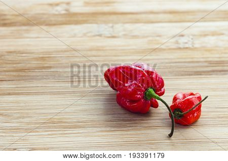 fiery red komodo dragon chillies on a wooden background