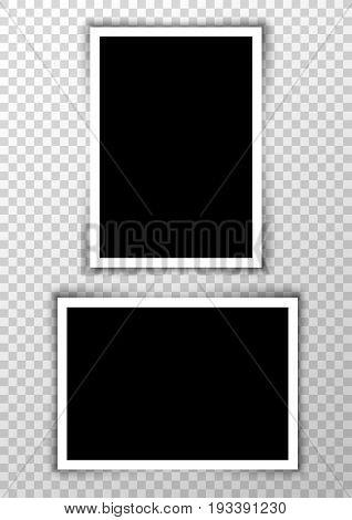 Vector photo frame picture background. Border photography album design. Image element empty retro frame.