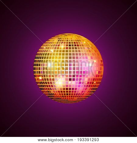 Disco ball isolated illustration. Night Club party light element. Bright mirror golden ball design for disco dance club.