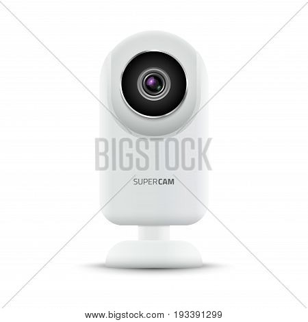 Realistic computer web camera. Video camera technology digital illustration. Webcam device.