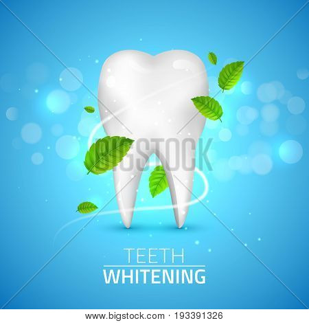Whitening tooth ads, with mint leaves on blue background. Green mint leaves clean fresh concept. Teeth health.