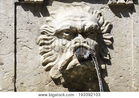 Bern Switzerland - April 20 2017: Detail of a fountain that is the form of an animal face it is a part of a pillar and it is a type of tap from which the water flows out.