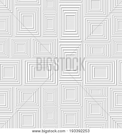 Neutral low contrasting seamless background composed of soft embossed squares and rectangles abstract vector tile
