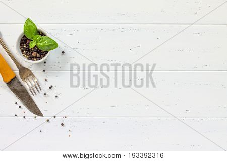 White Wooden Kitchen Table. Background Cooking With Fresh Herbs And Spices, Copy Space, Top View.