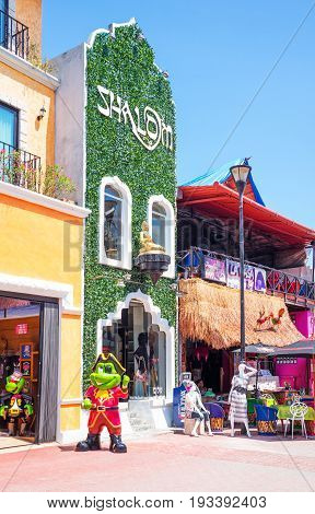 Playa Del Carmen Mexico - April 16 2016: Shops and tourist facilities in the country center
