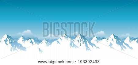 Vector illustration of panorama snowy Himalaya mountains