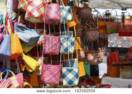 Bern Switzerland - April 20 2017: Variety of bags with put on sale at the stall that is located on the temporary market which was created on one of the squares in the city.