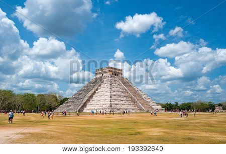 Chichen Itza Mexico - April 18 2016: Archaeological site view of the imposing Castle ( El Castillio)