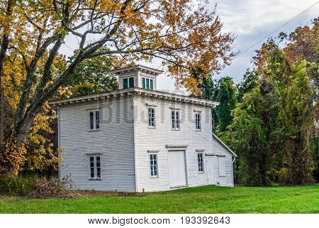 An historic wooden building near Monmouth Battlefield in Freehold New Jersey.