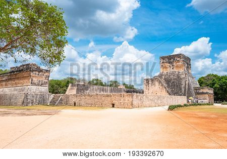 Chichen Itza Mexico - April 18 2016: Archaeological site the Observatory (El Observatorio)