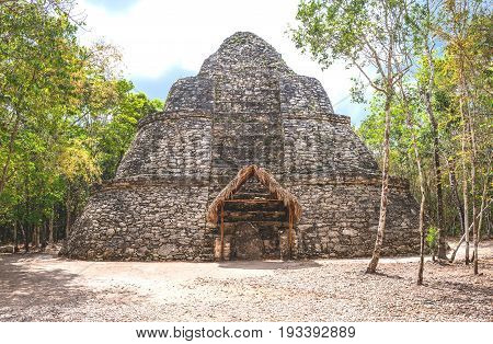 Coba Mexico archaeological site the Xay Be pyramid