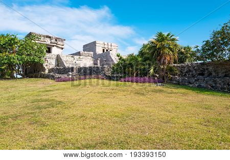 Tulum Mexico the Castle (El Castillo) in the Mayan city archaeological site