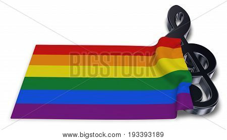 clef symbol and rainbow flag - 3d rendering