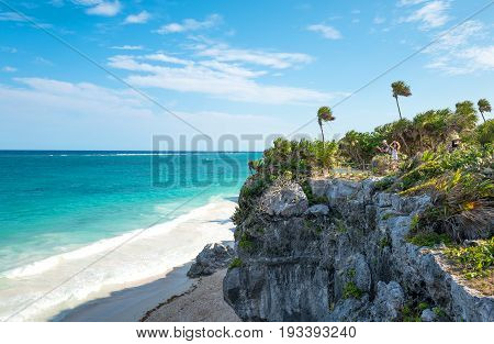 Tulum Mexico - April 20 2016: Sea view from the Mayan city archaeological site