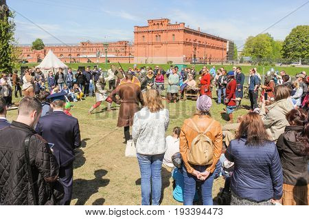 St. Petersburg Russia - 28 May, The spectators are at the Viking tournament, 28 May, 2017. Knight tournament at the festival of ancient Vikings in St. Petersburg.