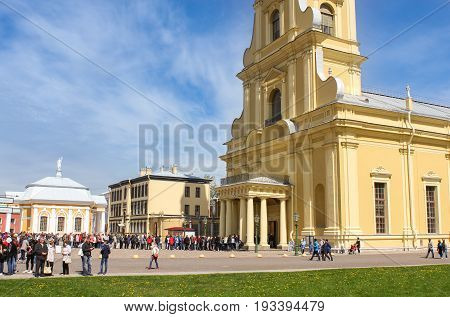 St. Petersburg Russia - 28 May, Tourists at the entrance to the Peter and Paul Cathedral, 28 May, 2017. Famous sightseeing places of St. Petersburg for tourists.